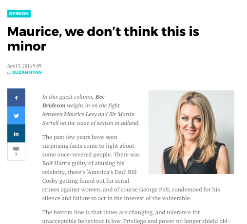 Mumbrella: Maurice, we don't think this is minor