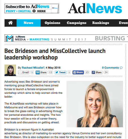 Ad News: Bec Brideson and MissCollective launch Leadership Workshop