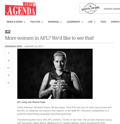 Women's Agenda: More Women in AFL? We'd like to see that.