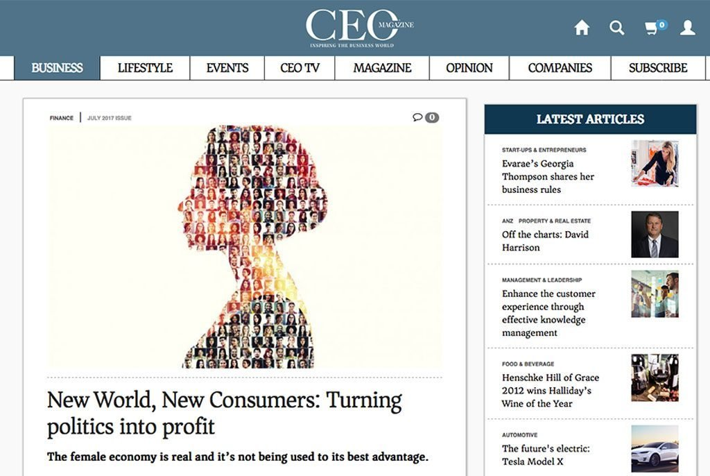 CEO Mag: New World, New Consumers: Turning politics into profit