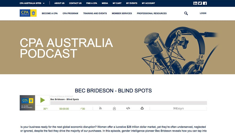 CPA Podcast: Bec Brideson - Blind Spots