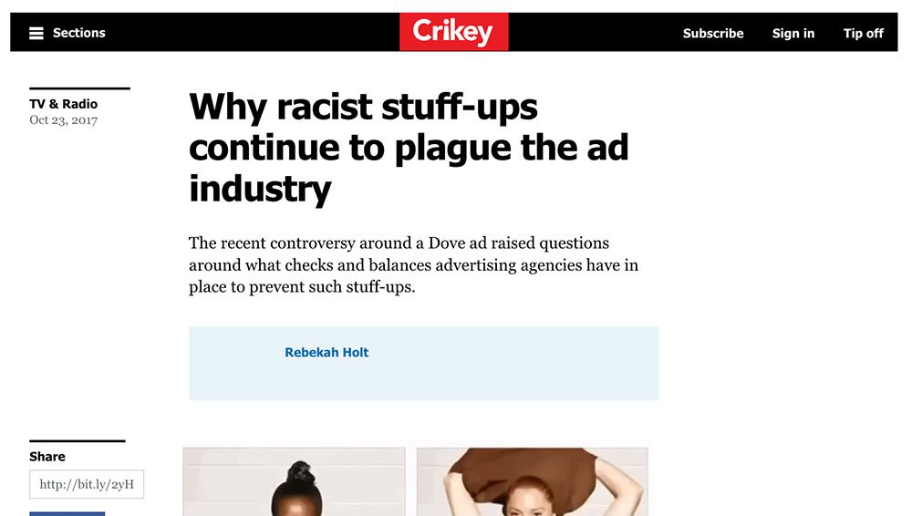 The Age: Why racist stuff-ups continue to plague the ad industry