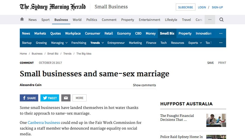 SMH: Small businesses and same-sex marriage