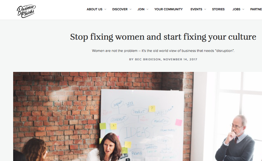 Business Chicks: Stop fixing women and start fixing your culture