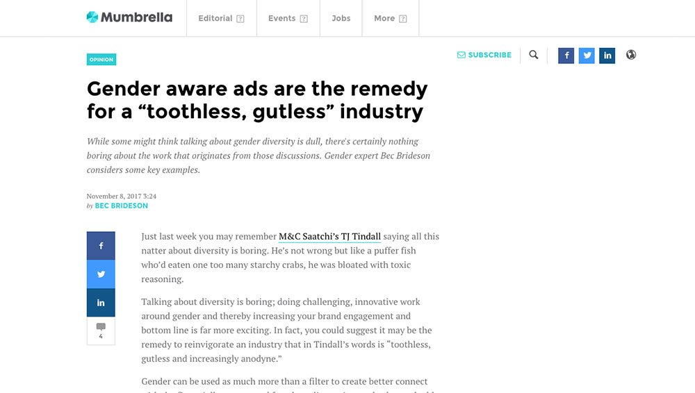 "Mumbrella: Gender aware ads are the remedy for a ""toothless, gutless"" industry"