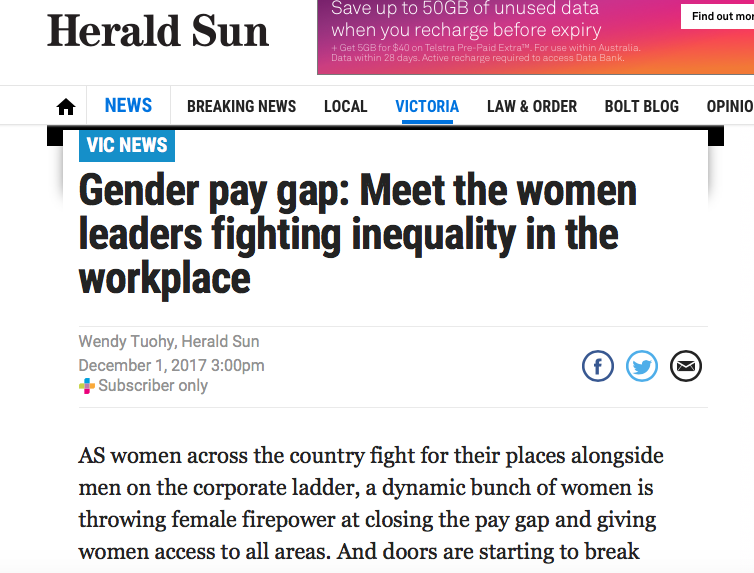 Herald Sun: Meet the leaders fighting gender inequality in the workplace