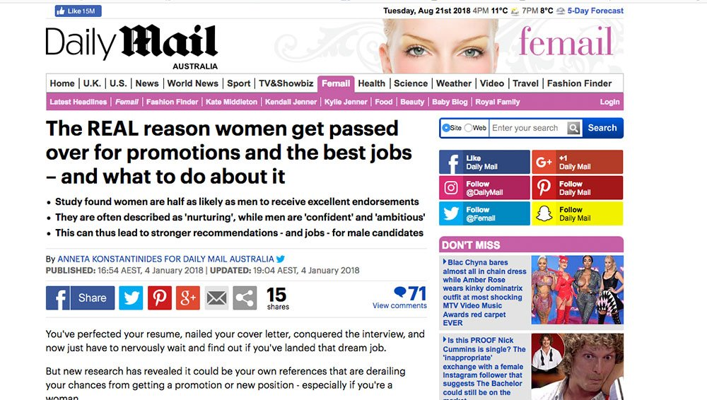 Daily Mail: Business bewares the disruptive female lens