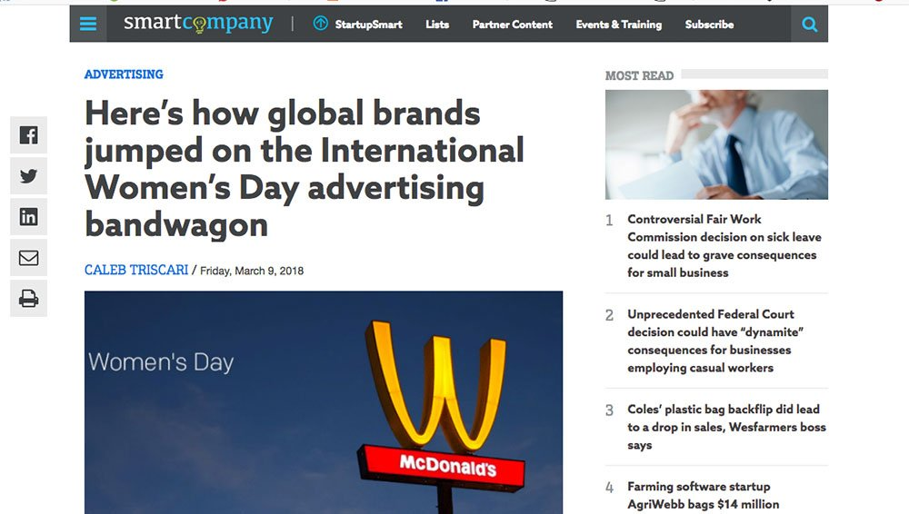 Here's how brands jumped on the #IWD bandwagon: Smart Company