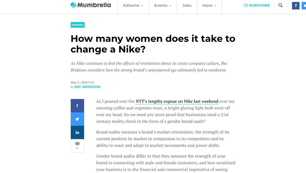Mumbrella: How many women does it take to change a Nike?