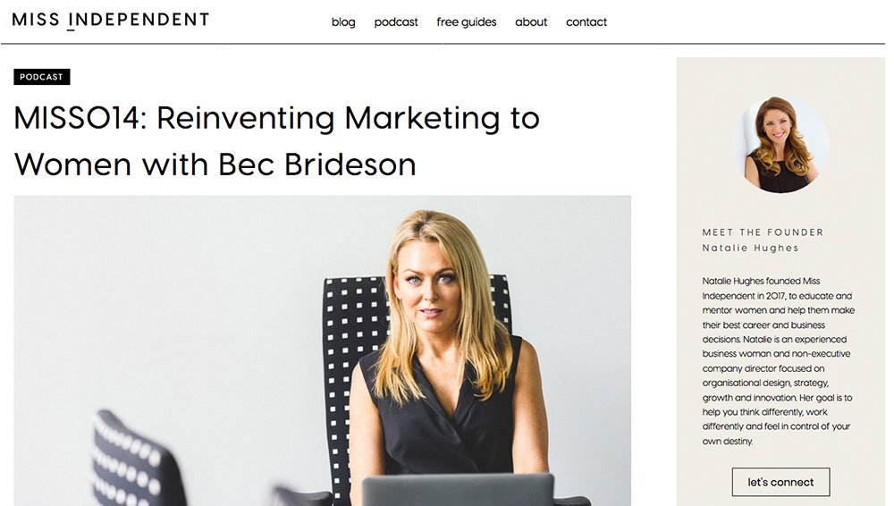 Miss Independent Podcast: Reinventing marketing-to-women with Bec Brideson