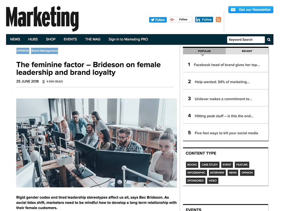 Marketing Mag: The Female Factor increases brand trust and loyalty